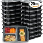 EZ Prepa [20 Pack] 32oz 3 Compartment Meal Prep Containers with Lids