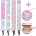 Liname Pacifier Clip for Girls - 4 Pack + BONUS Pacifier Case